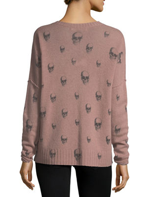 Image 2 of 3: Emmett V-Neck Cashmere Sweater with Skull Print