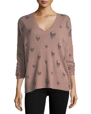 Image 3 of 3: Emmett V-Neck Cashmere Sweater with Skull Print