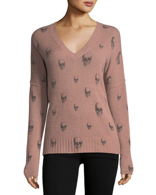 Image 1 of 3: Emmett V-Neck Cashmere Sweater with Skull Print