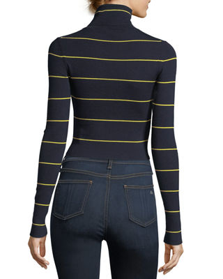 Striped Long-Sleeve Cropped Refine Turtleneck Sweater