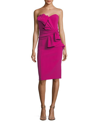 Sculpture Flower Waist Strapless Cocktail Sheath Dress