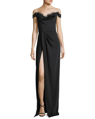 Marchesa Notte Off-the-Shoulder Crepe High-Slit Gown