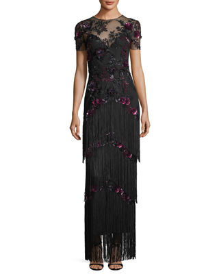 Marchesa Notte Short-Sleeve Illusion Fringe Column Gown