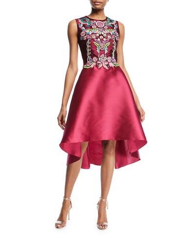 Sleeveless Embellished Mikado Mini Cocktail Dress