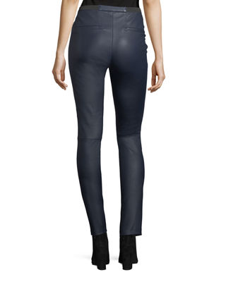 Pull-On Lamb Leather Leggings
