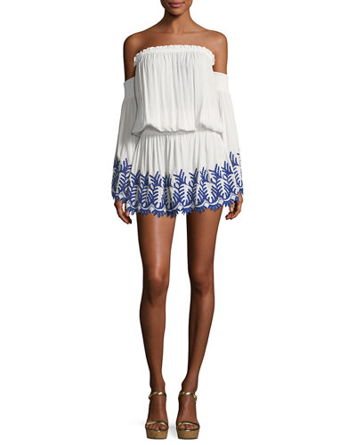 Zena Off-the-Shoulder Eyelet Embroidered Short Dress