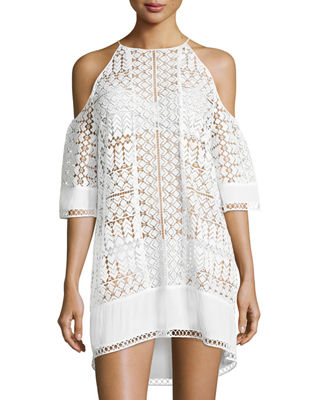Image 1 of 3: Silas Cold-Shoulder Lace Coverup Dress