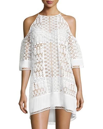 Silas Cold-Shoulder Lace Coverup Dress