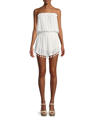 e3ba380064 Ramy Brook Marcie Strapless Coverup Dress with Pompoms