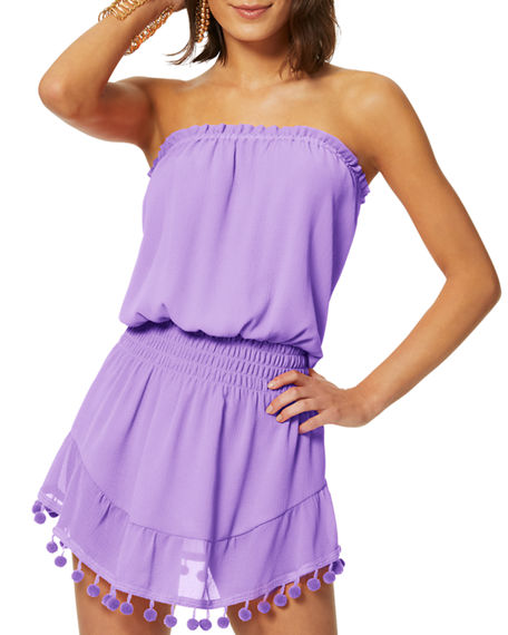 Image 2 of 3: Ramy Brook Marcie Strapless Coverup Dress with Pompoms