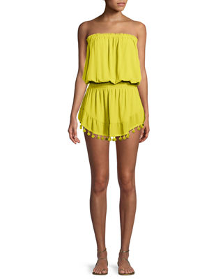Marcie Strapless Coverup Dress With Pompoms in Lemon