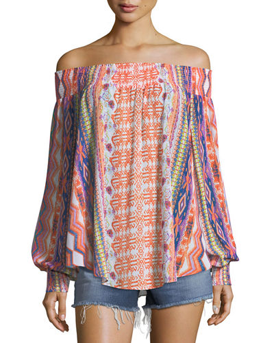 Augustine Printed Off-the-Shoulder Printed Textured Coverup