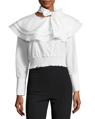 The Cyrus Tie-Neck Long-Sleeve Cotton Poplin Top