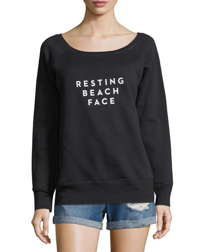 Resting Beach Face Scoop-Neck Sweatshirt