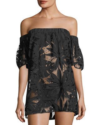 Off-the-Shoulder Flutter-Sleeve Shift Coverup Dress
