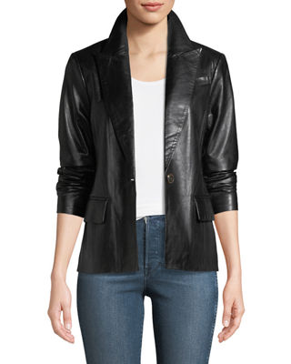 Neiman Marcus Leather Collection Leather One-Button Blazer