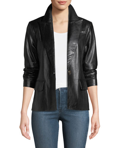 Leather One-Button Blazer