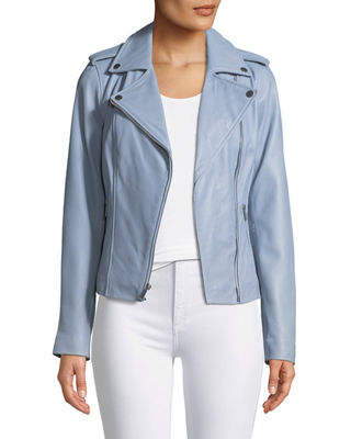 Image 1 of 4: Zip-Front Leather Moto Jacket