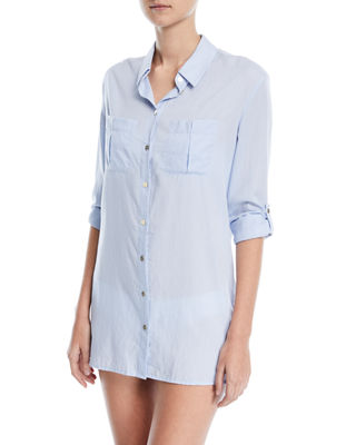 Heidi Klein St. Barths Dipped Hem Cotton Shirt