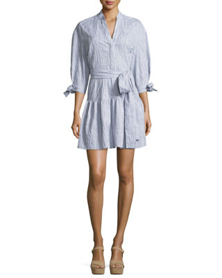 Derek Lam 10 Crosby 3/4-Sleeves Belted Textured Cotton