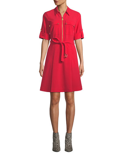Lock-Zip Crepe Shirtdress