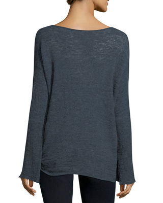 Image 3 of 3: Knotted Linen-Blend Pullover Top, Plus Size