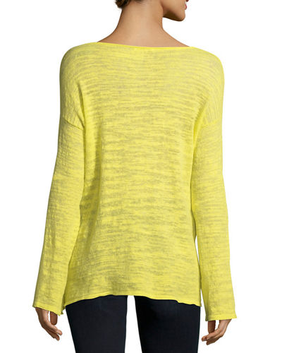 Knotted Linen-Blend Pullover Top, Plus Size