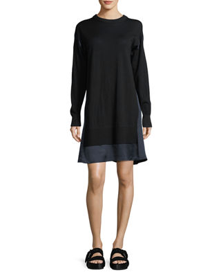 Sadie Crewneck Long-Sleeve Wool Sweater Dress