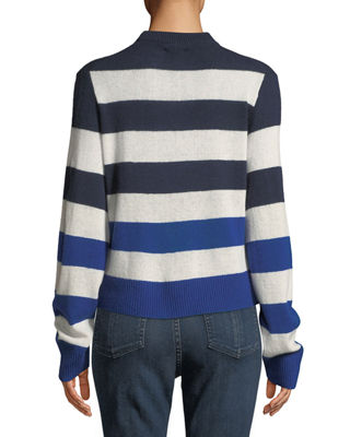 Image 2 of 4: Annika Crewneck Striped Cashmere Sweater