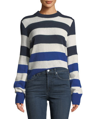 Image 1 of 4: Annika Crewneck Striped Cashmere Sweater