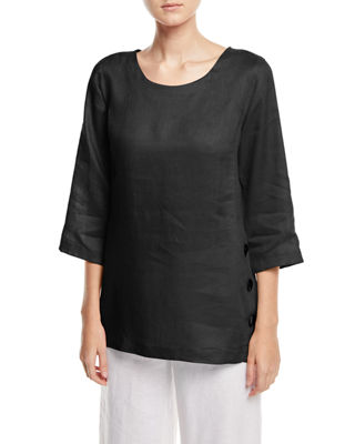 Tissue-Linen Side Button Top, Plus Size