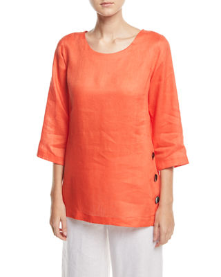 Caroline Rose Tissue-Linen Side Button Top, Plus Size