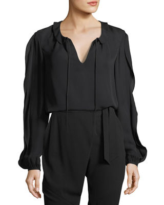 Stretch Silk Self-Tie Top