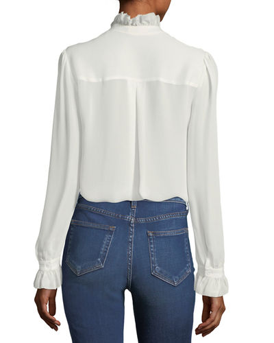 Carla Button-Down Silk Victorian Blouse