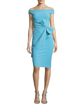 Rashmi Bow Off-the-Shoulder Sheath Cocktail Dress