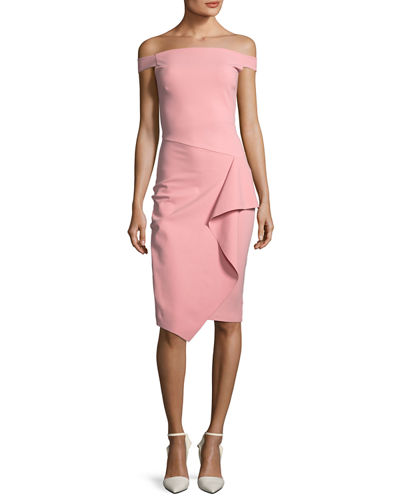 Kriti Off-the-Shoulder Draped Cocktail Dress