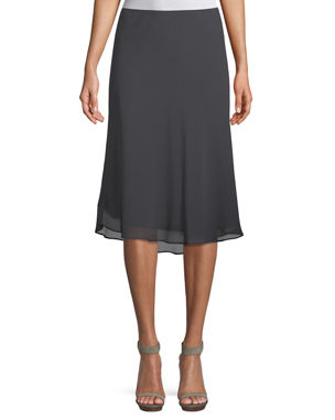 Tibi Womens Zip Up Knee Length Skirt Brown Sheer Abstract Size 4 Attractive Fashion Skirts