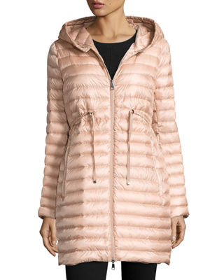 MONCLER BARBEL HOODED PUFFER COAT, PASTEL PINK, BLUE