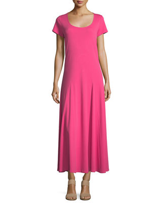 Image 1 of 3: Cotton Interlock Scoop-Neck Maxi Dress