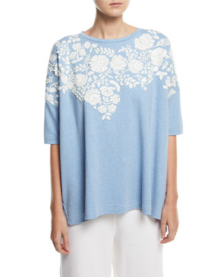 Relaxed Big Tee with Floral Applique, Plus Size