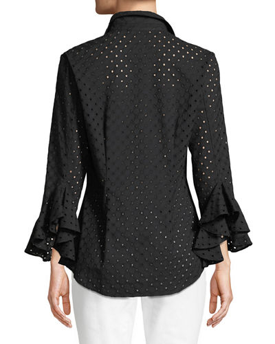 Plus Size Carmella Eyelet Flutter-Sleeve Cotton Top