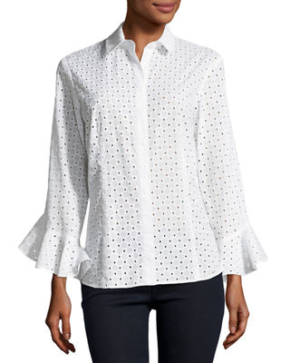 Finley Carmella Eyelet Flutter-Sleeve Cotton Top, Plus Size