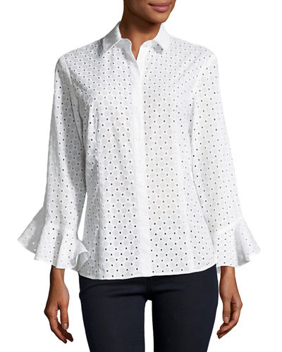 Carmella Eyelet Flutter-Sleeve Cotton Top, Plus Size