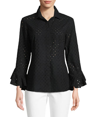 Carmella Eyelet Flutter-Sleeve Cotton Top