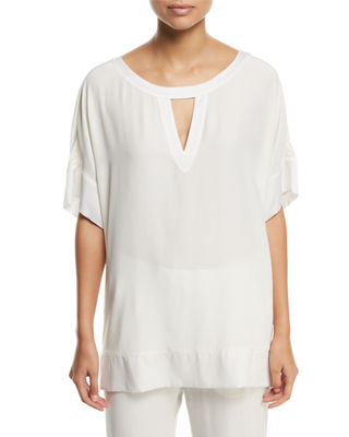 Go Silk Silk Crepe Open-Detail Top