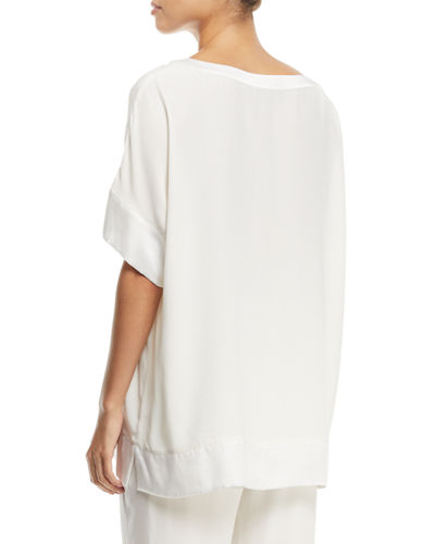Silk Crepe Open-Detail Top, Plus Size