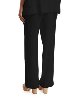 Image 2 of 3: Silk Crepe Easy Contrast-Trim Pants, Plus Size