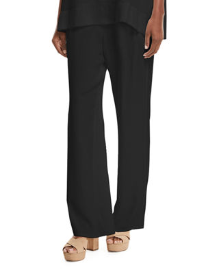 Image 1 of 3: Silk Crepe Easy Contrast-Trim Pants, Plus Size