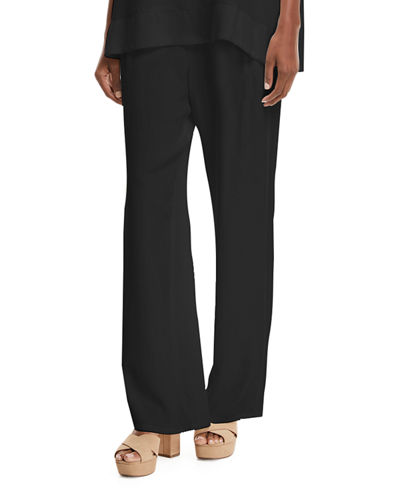 Plus Size Silk Crepe Easy Contrast-Trim Pants