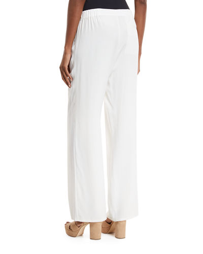 Silk Crepe Easy Contrast-Trim Pants, Plus Size